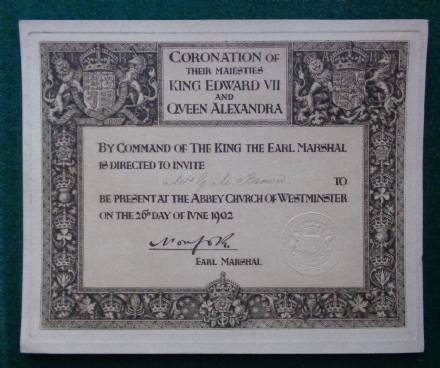 King Edward VII Queen Alexandra Royal Invitation Coronation 1902 Westminster